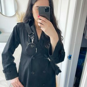 Burberry's Vintage Black Trench Coat Long Wool